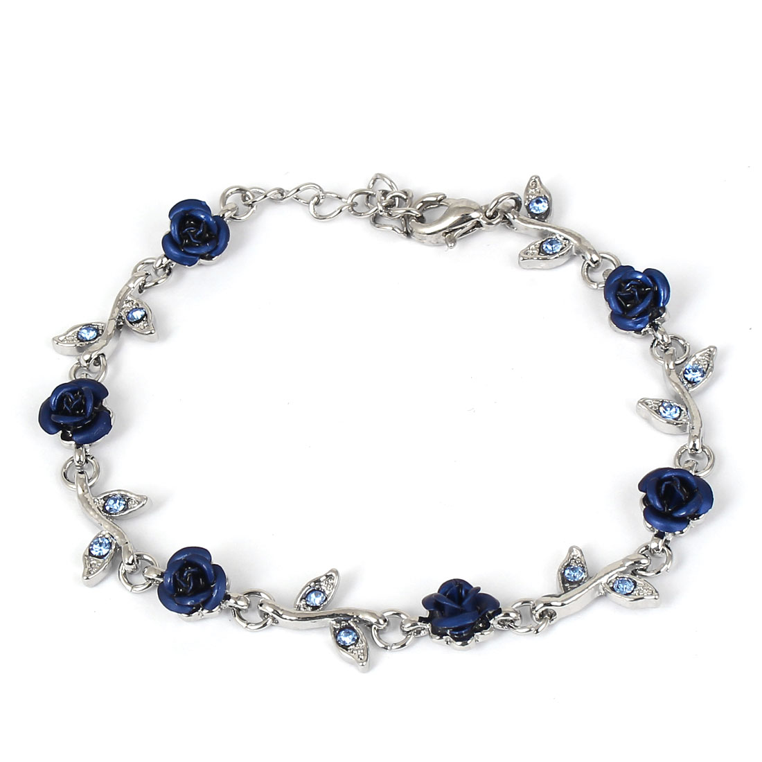 Lady Fashion Jewelry Rose Flower Crystal Decor Bracelet Silver Tone Dark Blue