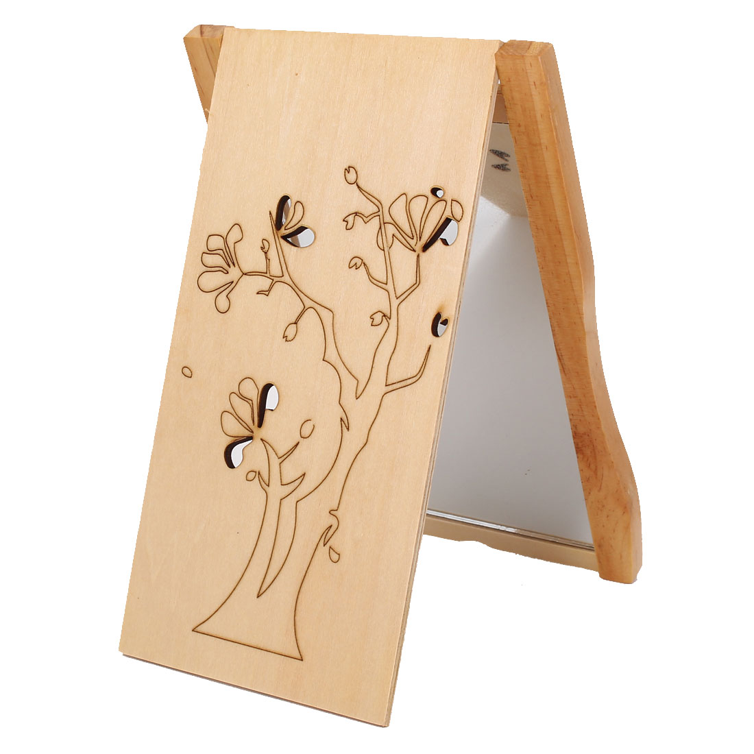Rectangle Shape Wooden Cover Tree Print Folding Compact Cosmetic Make Up Mirror