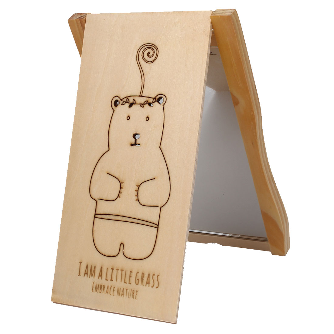 Cartoon Bear Print Rectangle Wooden Folding Compact Cosmetic Make Up Mirror