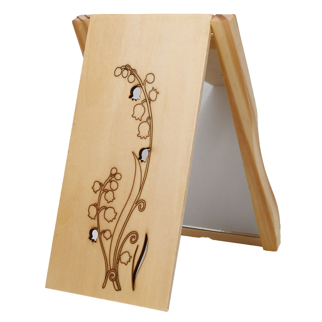 Lily of the Valley Print Rectangle Wooden Folding Compact Cosmetic Makeup Mirror