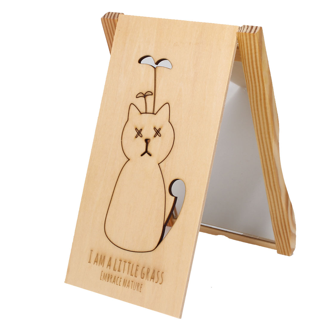 Cartoon Cat Print Rectangle Wooden Cover Folding Compact Cosmetic Make Up Mirror