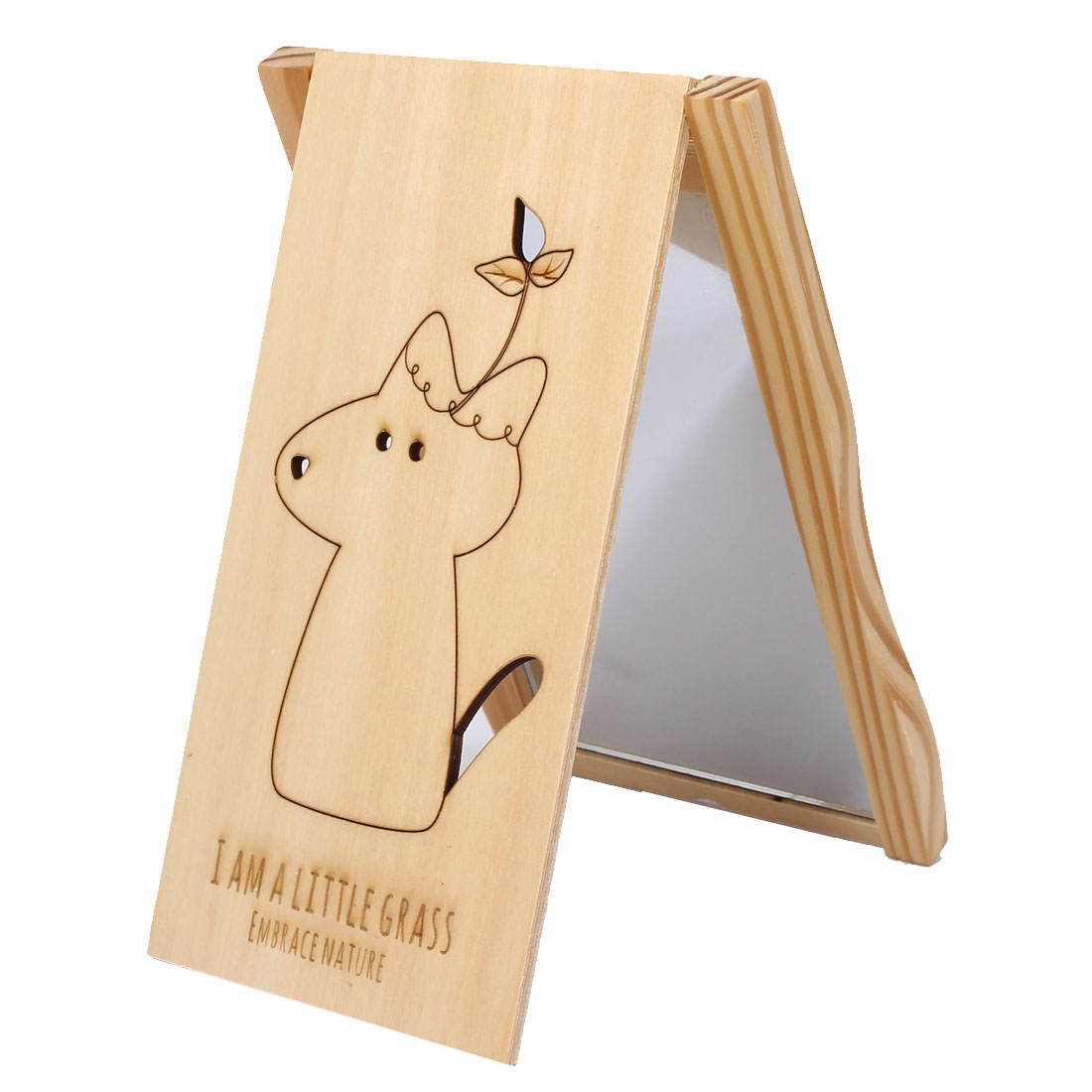 Cartoon Dog Print Rectangle Wooden Cover Folding Compact Cosmetic Make Up Mirror