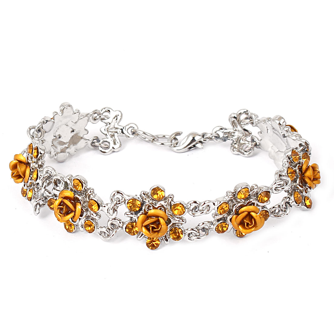 Lady Fashion Jewelry Rose Flower Crystal Decor Lobster Clasp Bracelet Gold Tone