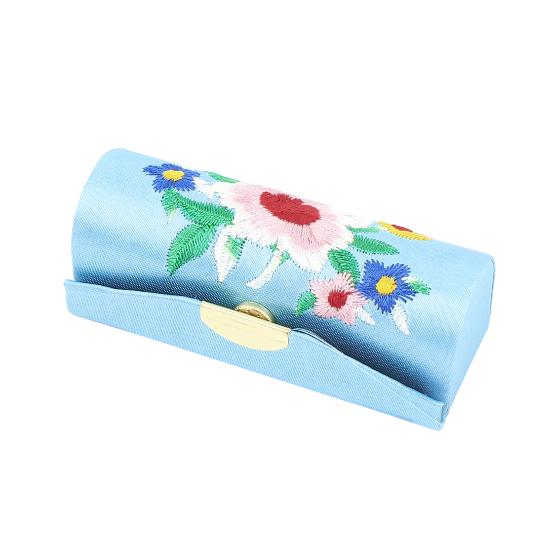 Lady Floral Embroidery Mirror Lipstick Lip Balm Chap Stick Case Jewelry Box Holder Blue