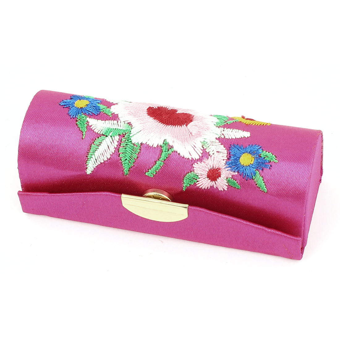 Women Floral Embroidery Mirror Lipstick Lip Balm Chap Stick Case Jewelry Box Holder Magenta