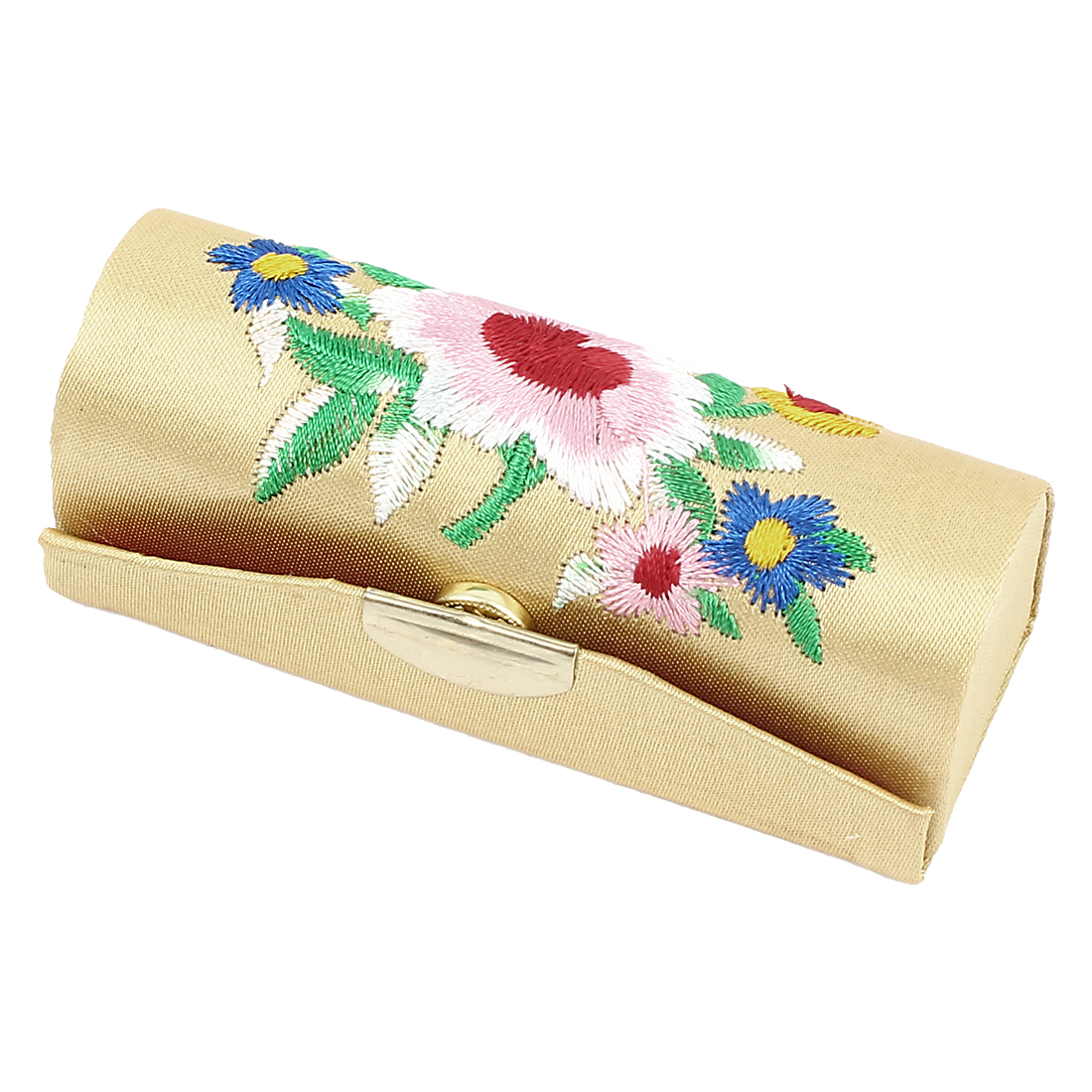 Lady Floral Embroidery Mirror Lipstick Lip Balm Chap Stick Case Container Holder Beige