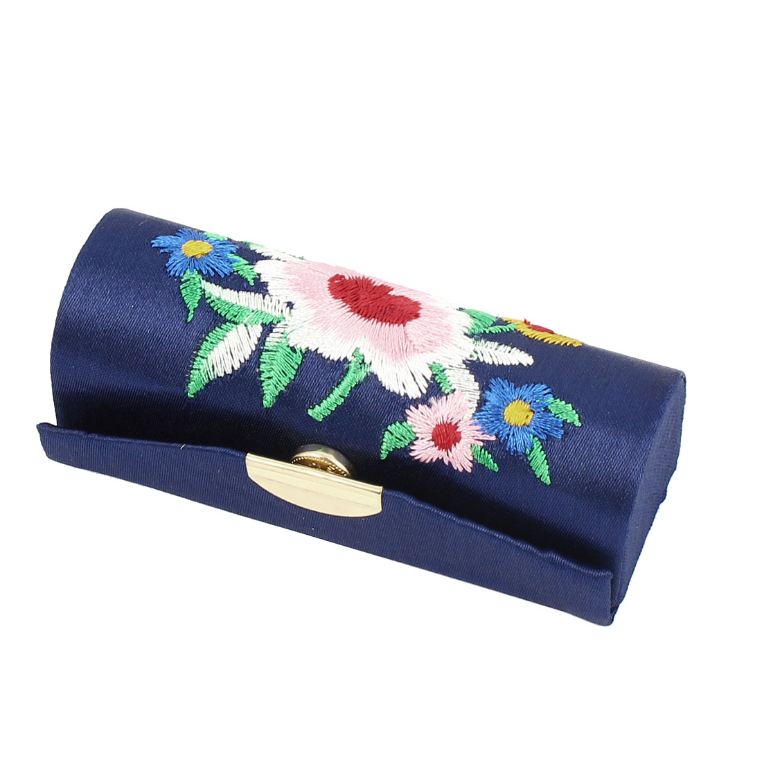 Lady Floral Embroidery Mirror Lipgloss Lip Stick Case Jewelry Lipstick Box Holder Dark Blue