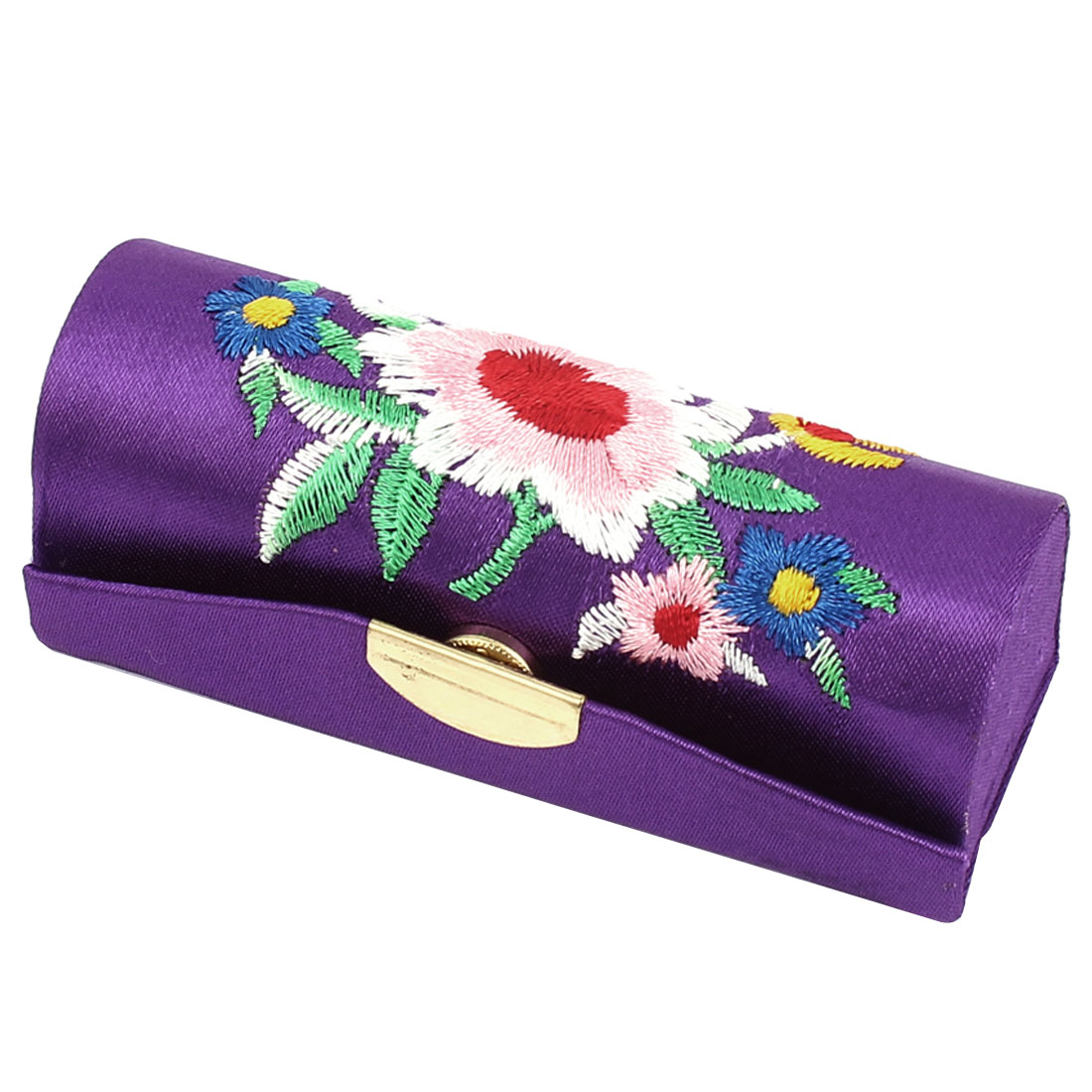 Lady Floral Embroidery Mirror Lipstick Lip Balm Chap Stick Case Container Box Holder Purple