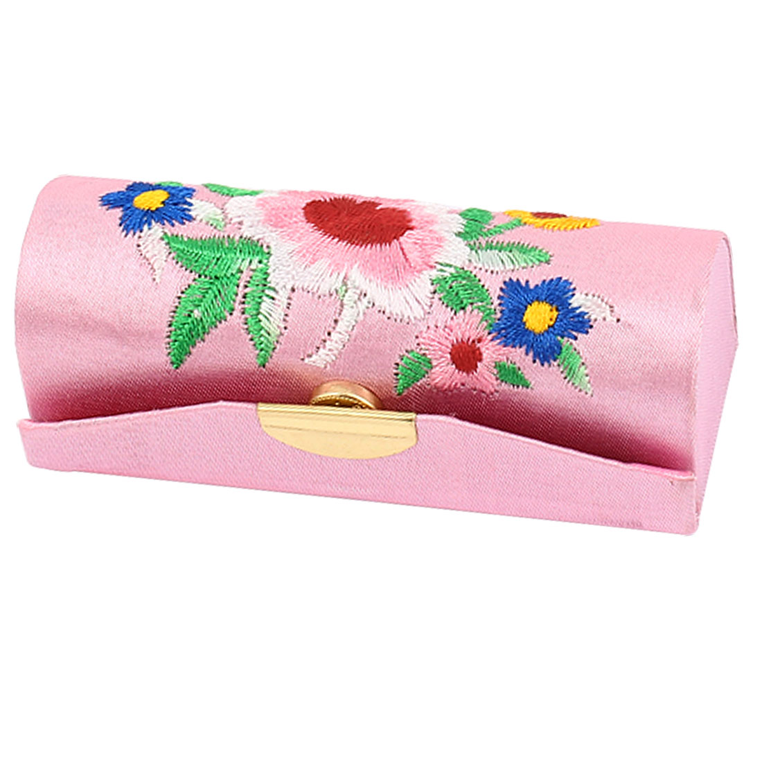 Lady Floral Embroidery Press Stud Closure Lipstick Lip Balm Chap Stick Case Box Holder Pink