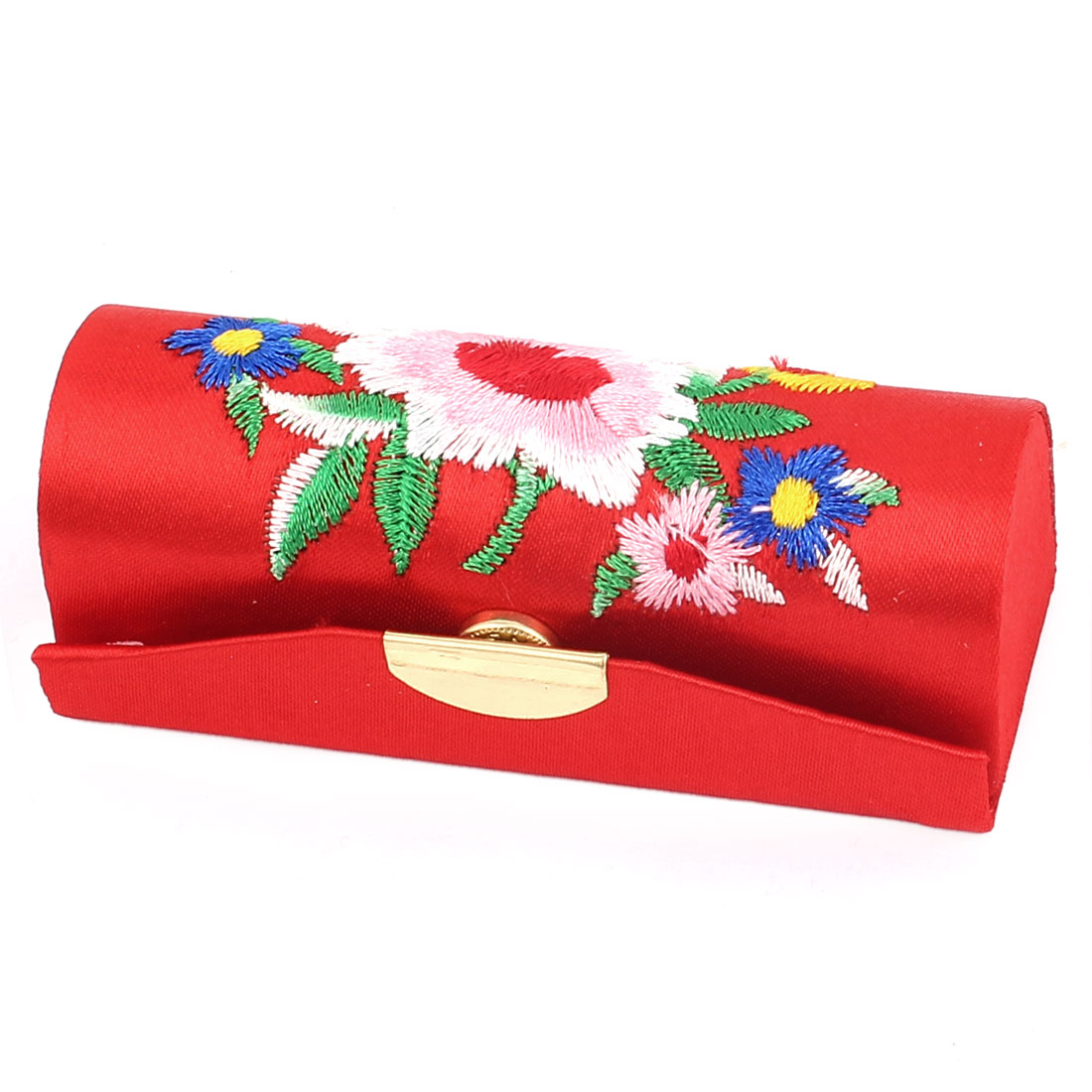 Women Floral Embroidery Press Stud Closure Lipstick Lip Balm Chap Stick Case Box Holder Red