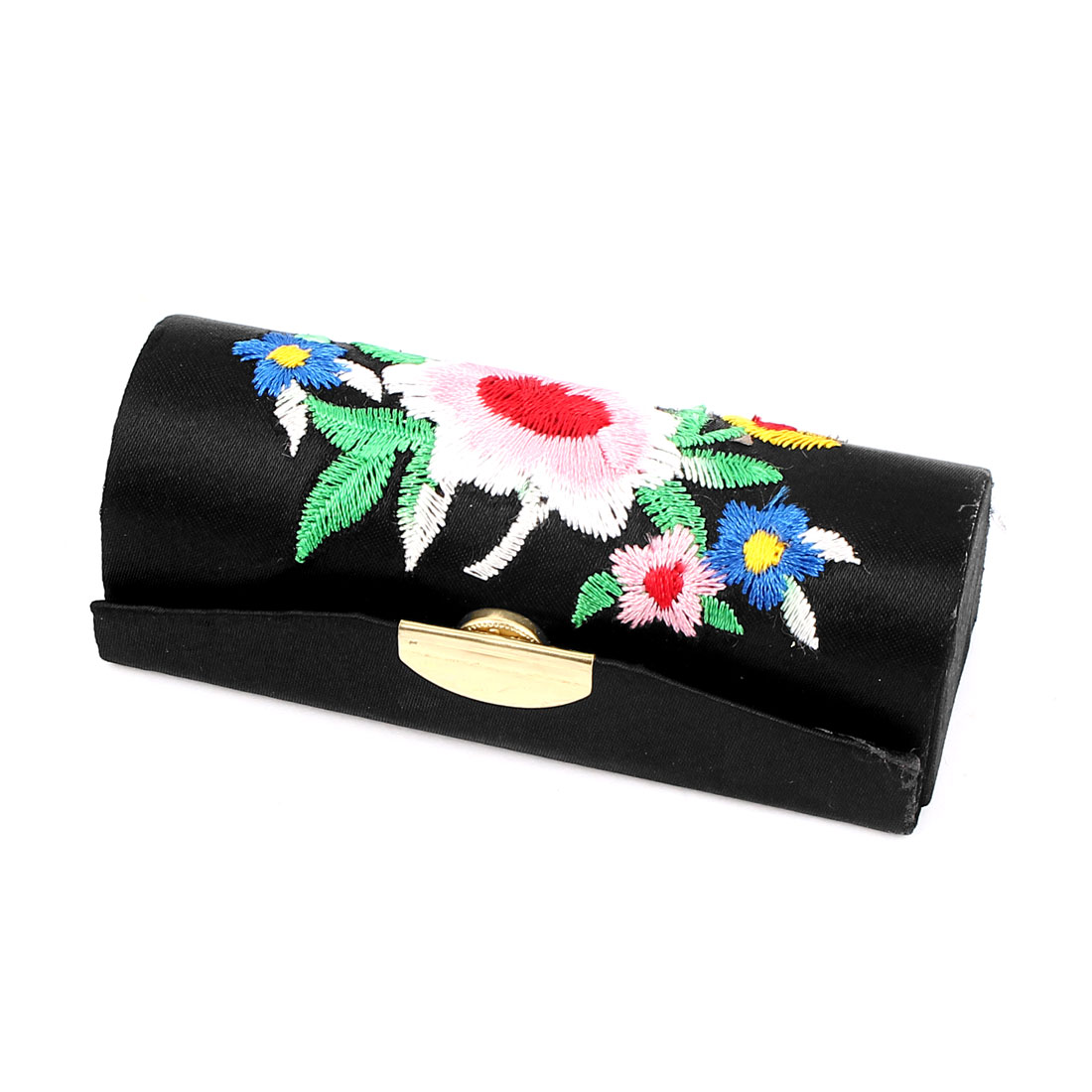 Lady Flower Embroidery Press Stud Closure Lipstick Lip Balm Chap Stick Case Box Holder Black
