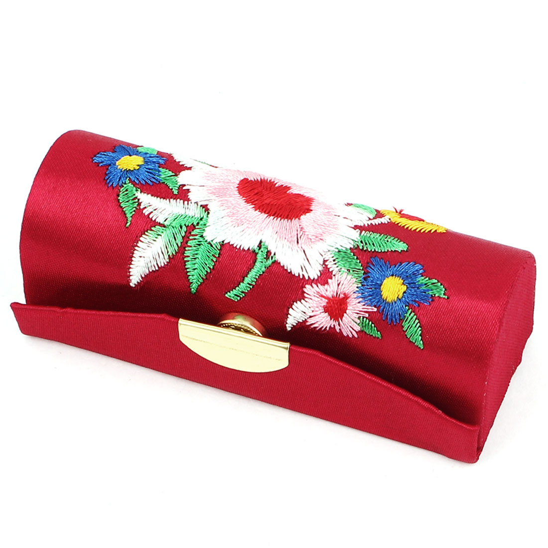 Lady Floral Embroidery Press Stud Closure Lipstick Lip Balm Stick Case Container Holder Burgundy