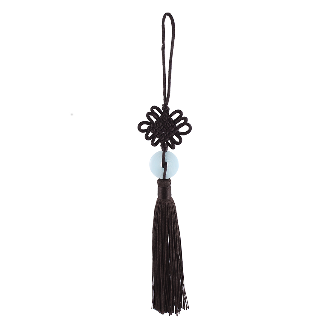 Auto Car Home Faux Jade Tassel Chinese Knot Hanging Ornament Dark Brown