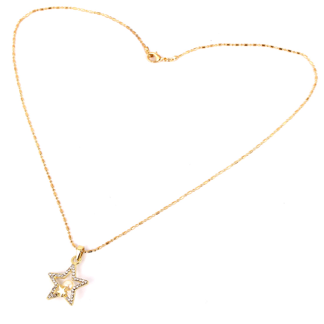 Plastic Rhinestones Inlaid Imitation Pearl Decor Star Pendant Lobster Buckle Necklace