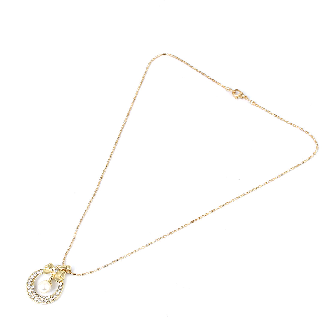 Women Imitation Pearl Pendant Gold Tone Chain Necklace Jewelry Gift