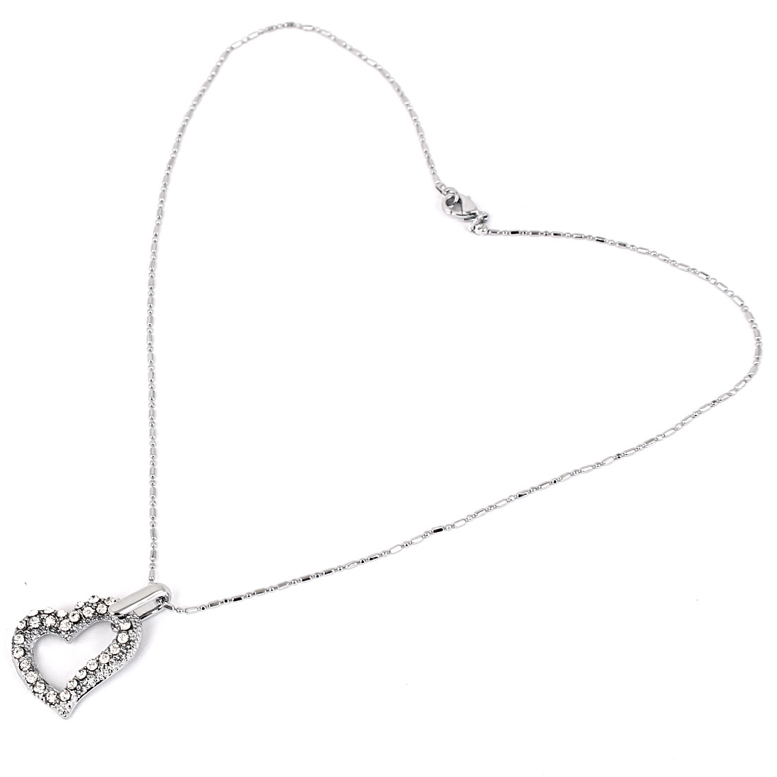 Heart Pendant Lobster Clasp Metal Chain Lady Sweater Necklace Silver Tone