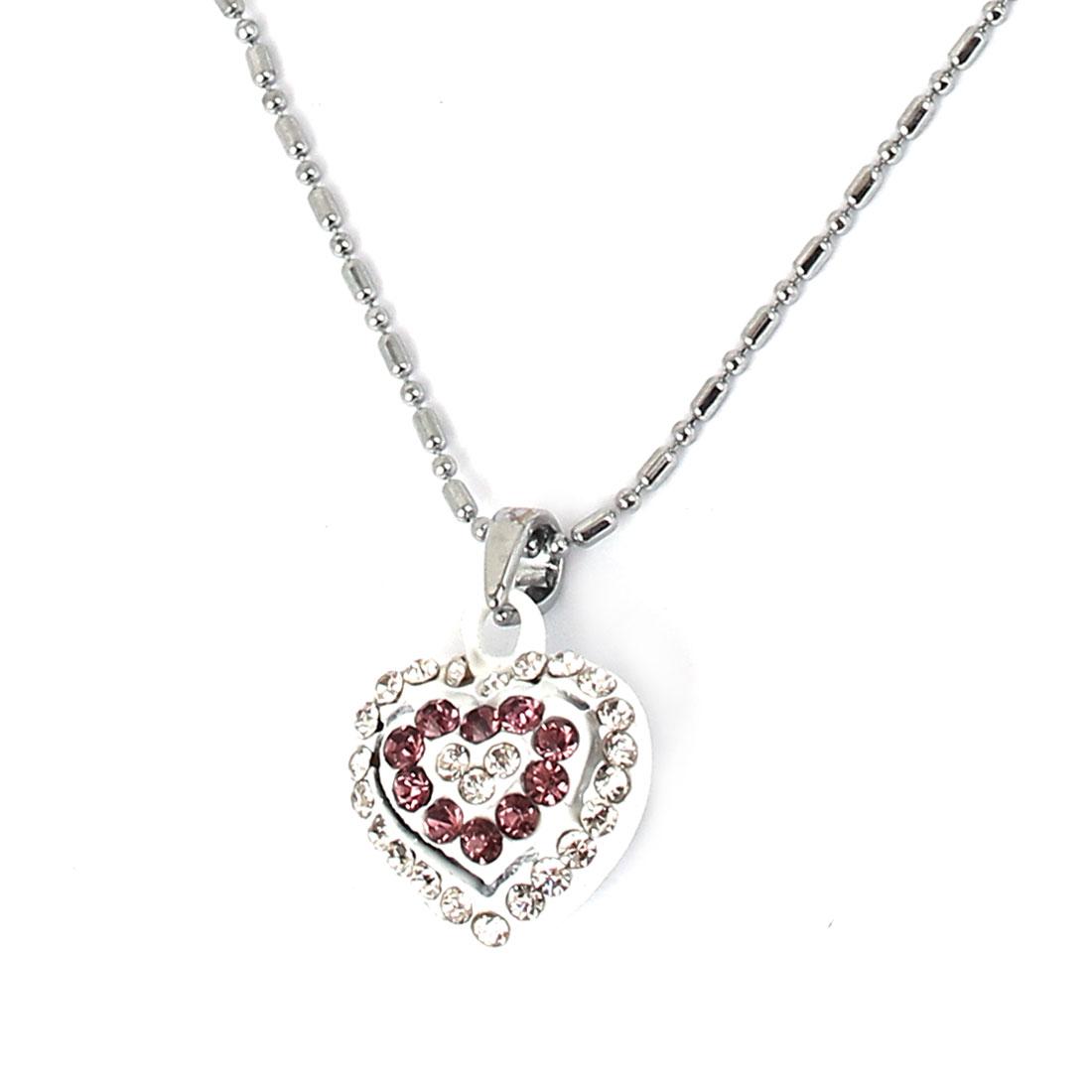Plastic Rhinestones Inlaid Metal Chain Heart Pendant Lady Sweater Necklace