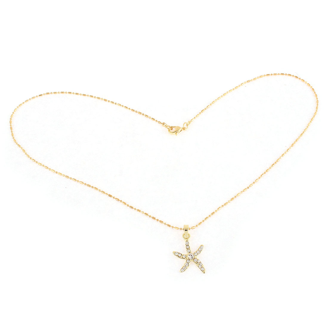 Rhinestone Decor Sea Star Shape Pendant Gold Tone Chain Necklace Jewelry