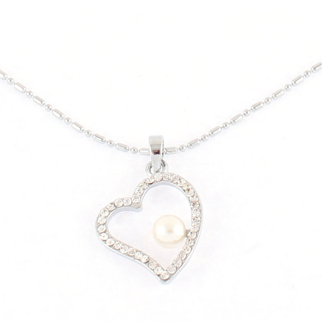 Lady Imitation Pearl Pendant Silver Tone Choker Chain Necklace Jewelry Gift