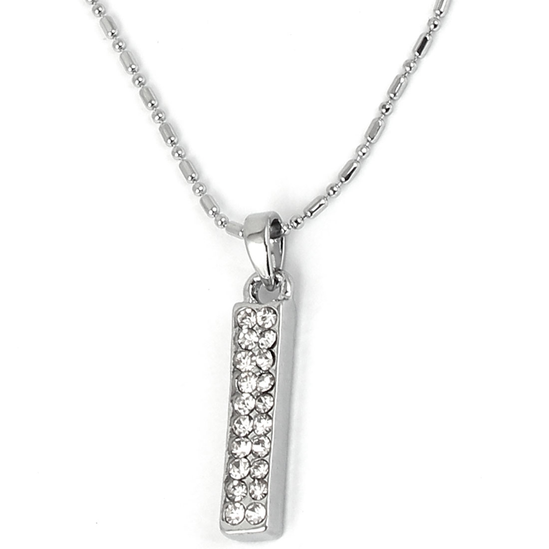 Lady Metal Cube Bar Pendant Strip Link Chain Necklace Silver Tone