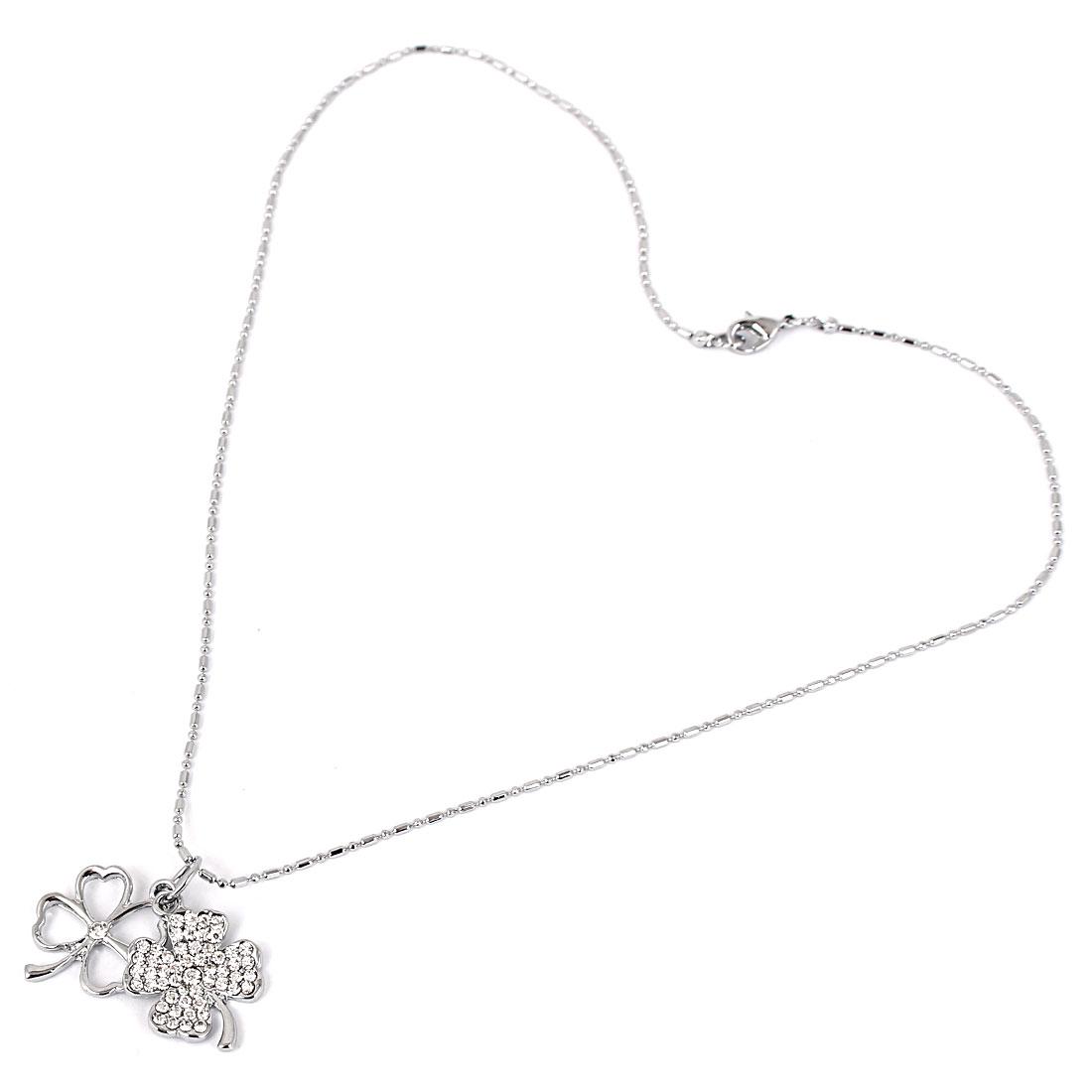 Ladies Metal Four-leaf Clover Pendant Lobster Buckle Strip Link Chain Necklace