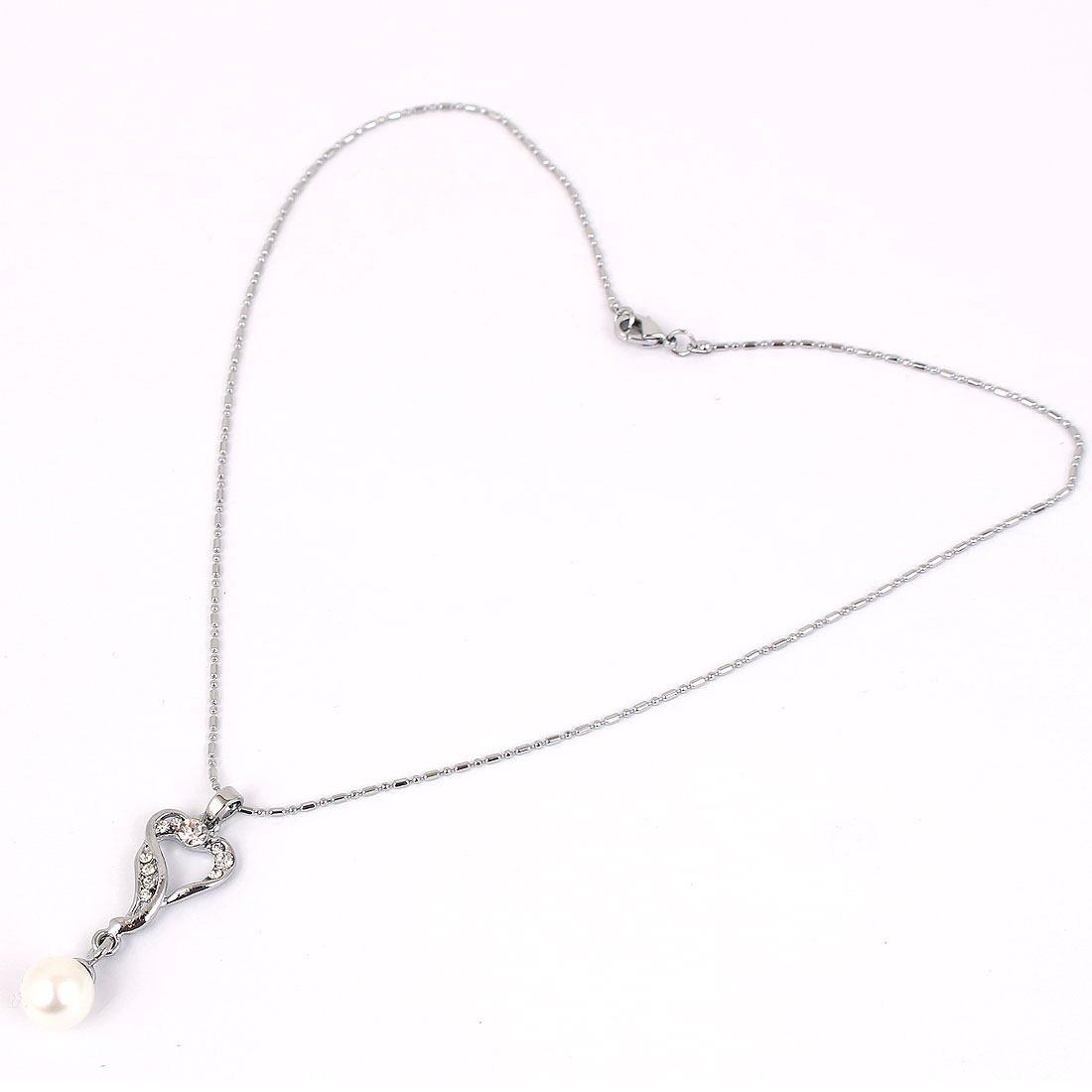 Faux Rhinestones Inlaid Plastic Imitation Pearl Heart Pendant Metal Chain Necklace