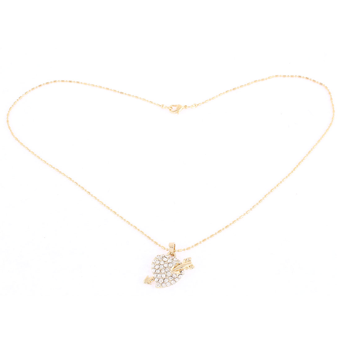 Lady Rhinestone Faux Crystal Pendant Gold Tone Necklace Jewelry
