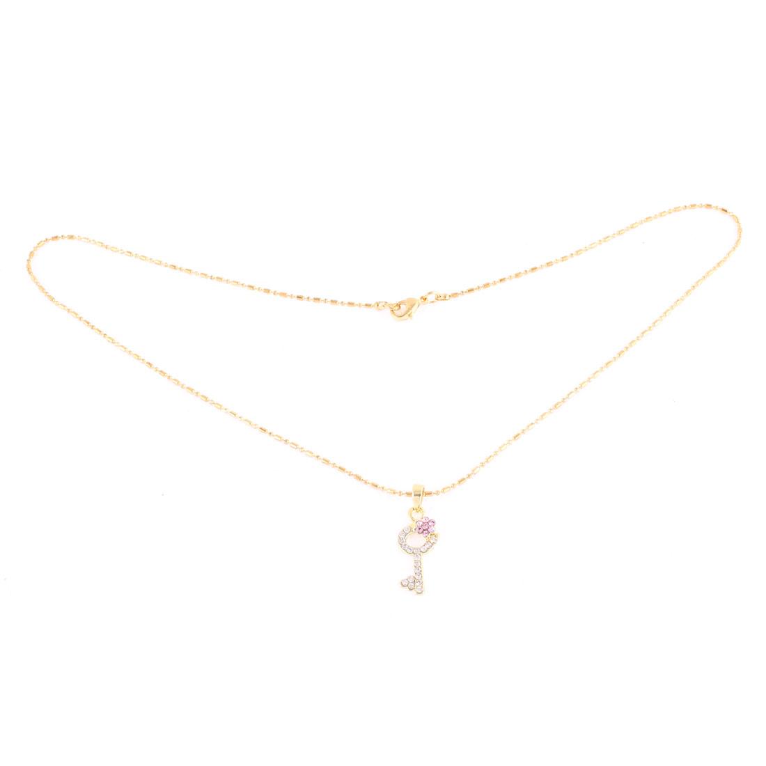 Lady Women Rhinestone Pendant Gold Tone Slim Chain Necklace Jewelry Gift