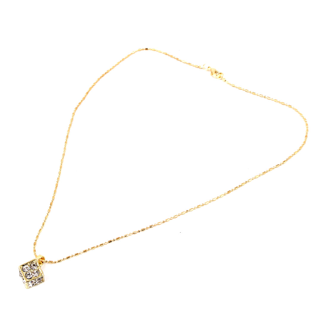 Gold Tone Metal Rhinestone Pendant Chain Necklace Jewelry Gift