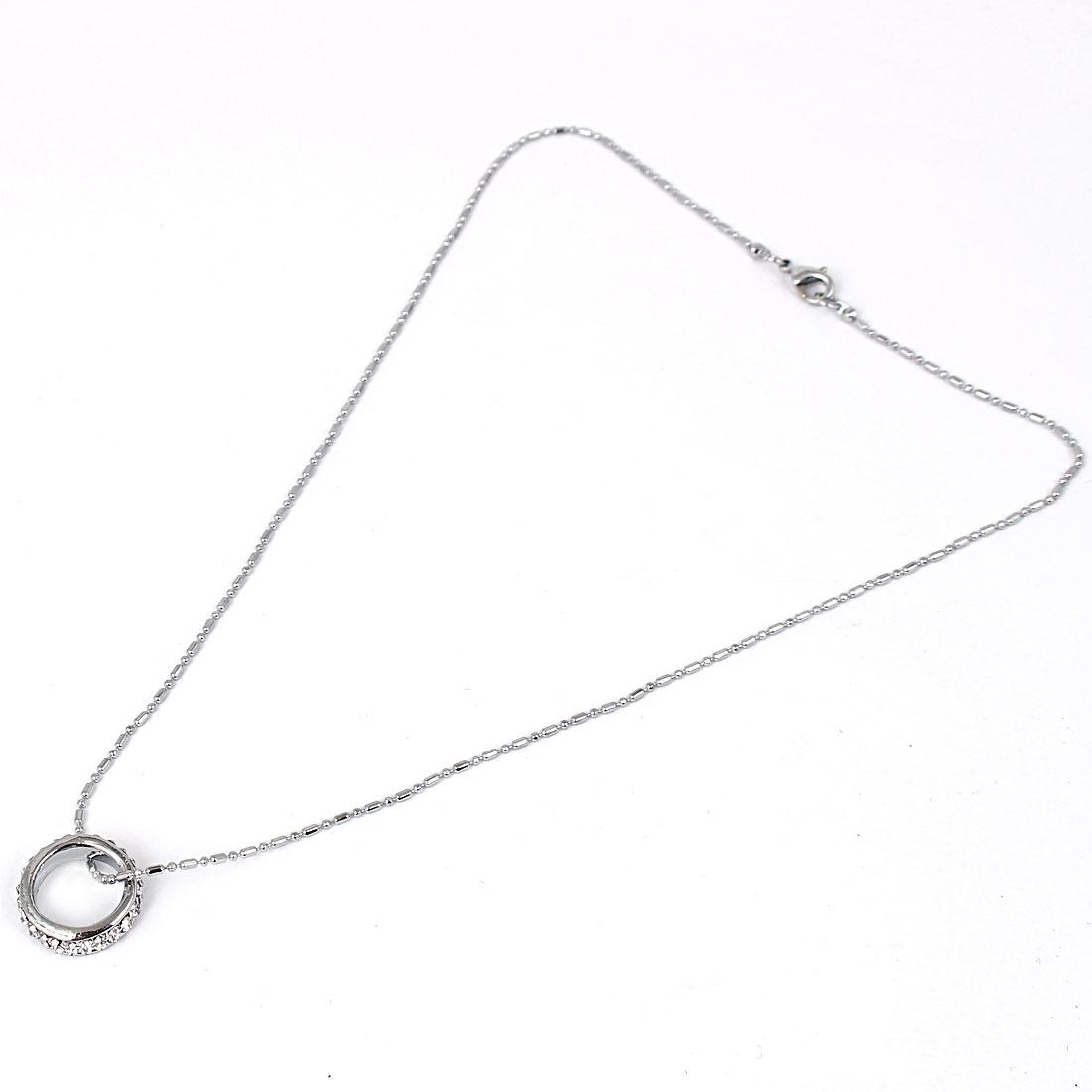 Women Rhinestone Bead Ring Pendant Chain Necklace Jewelry Silver Tone