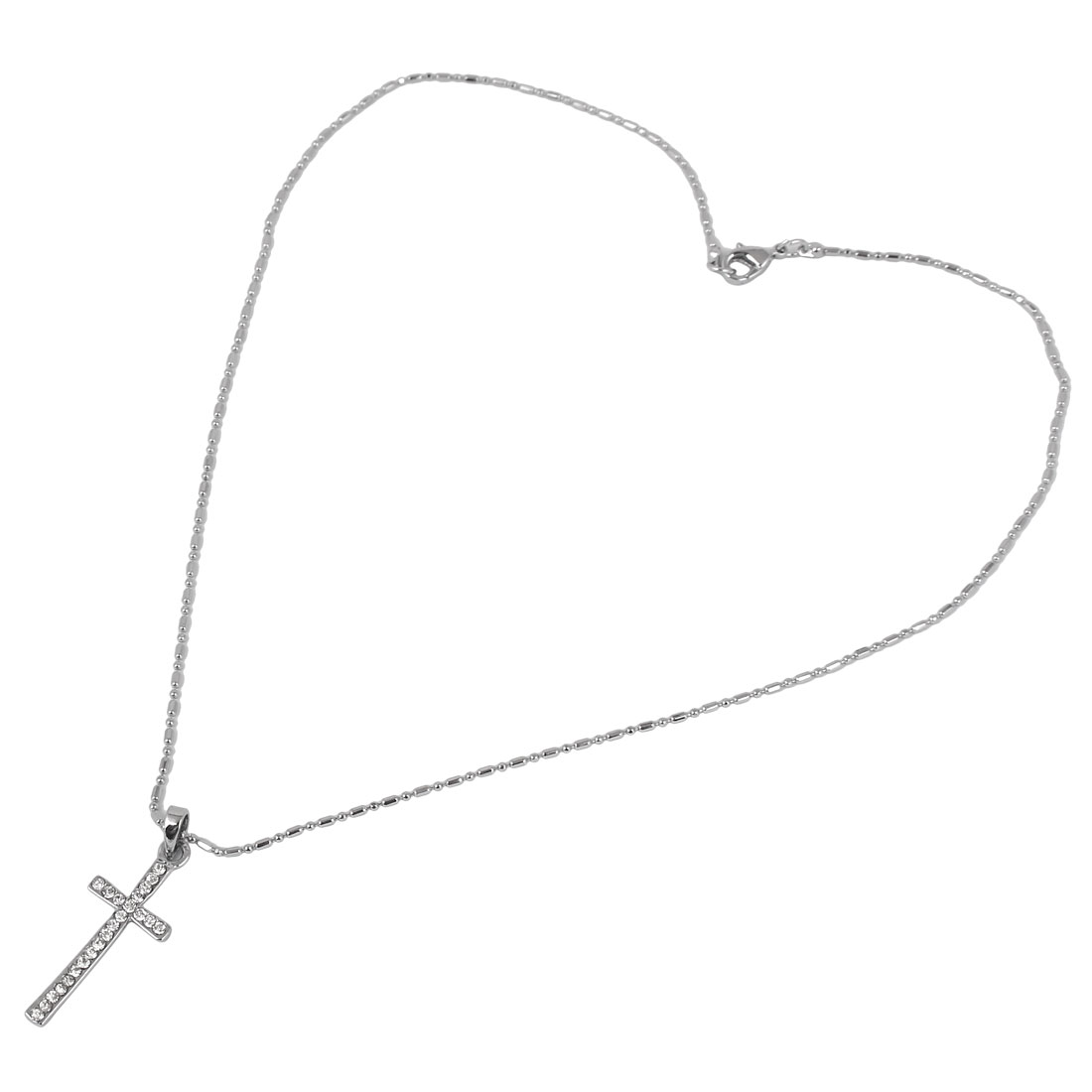 Metal Cross Pendant Lobster Buckle Strip Link Chain Necklace Neckwear