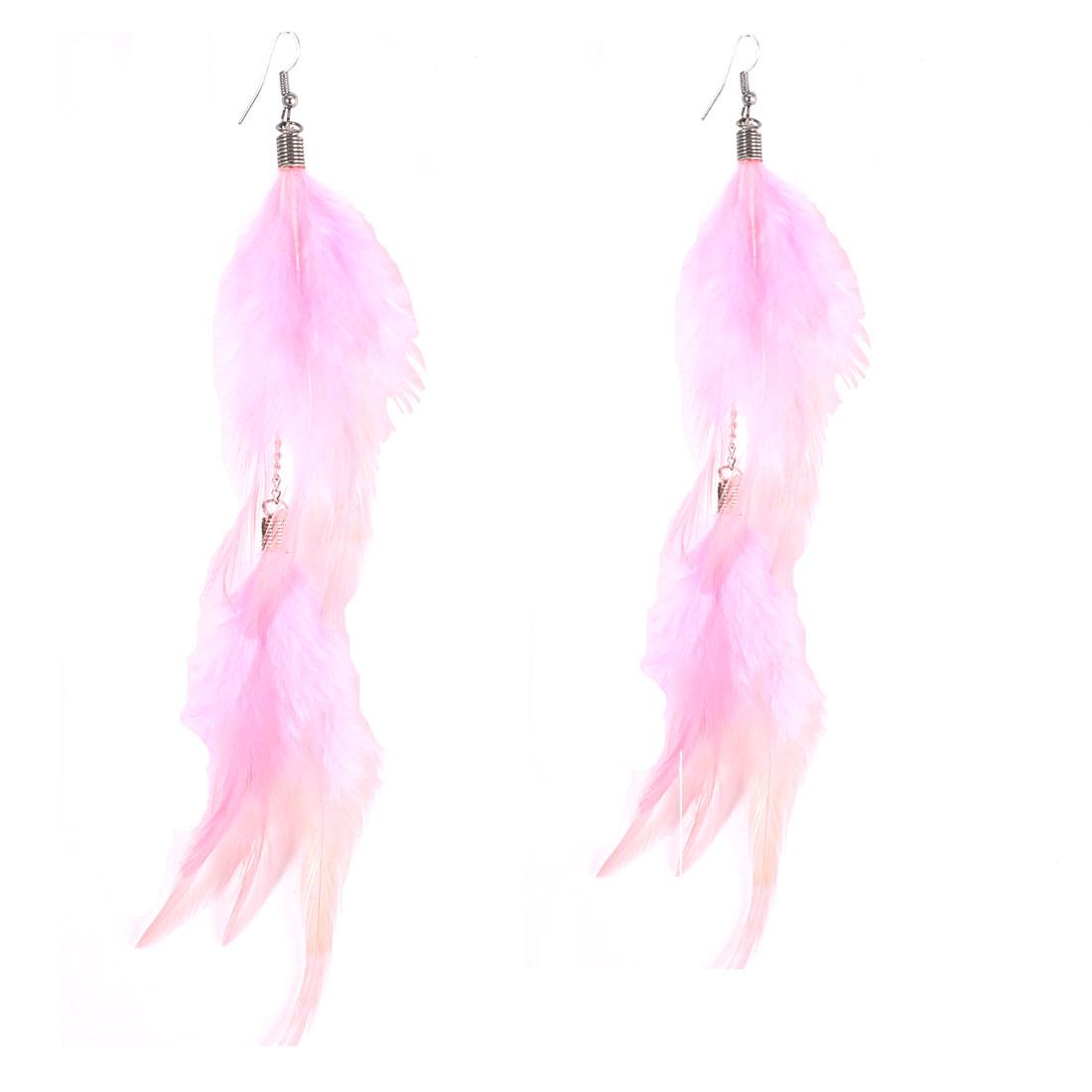 Lady Faux Feather Detail Fish Hook Dangling Eardrop Ear Decoration Earrings 20cm Long Pink Pair