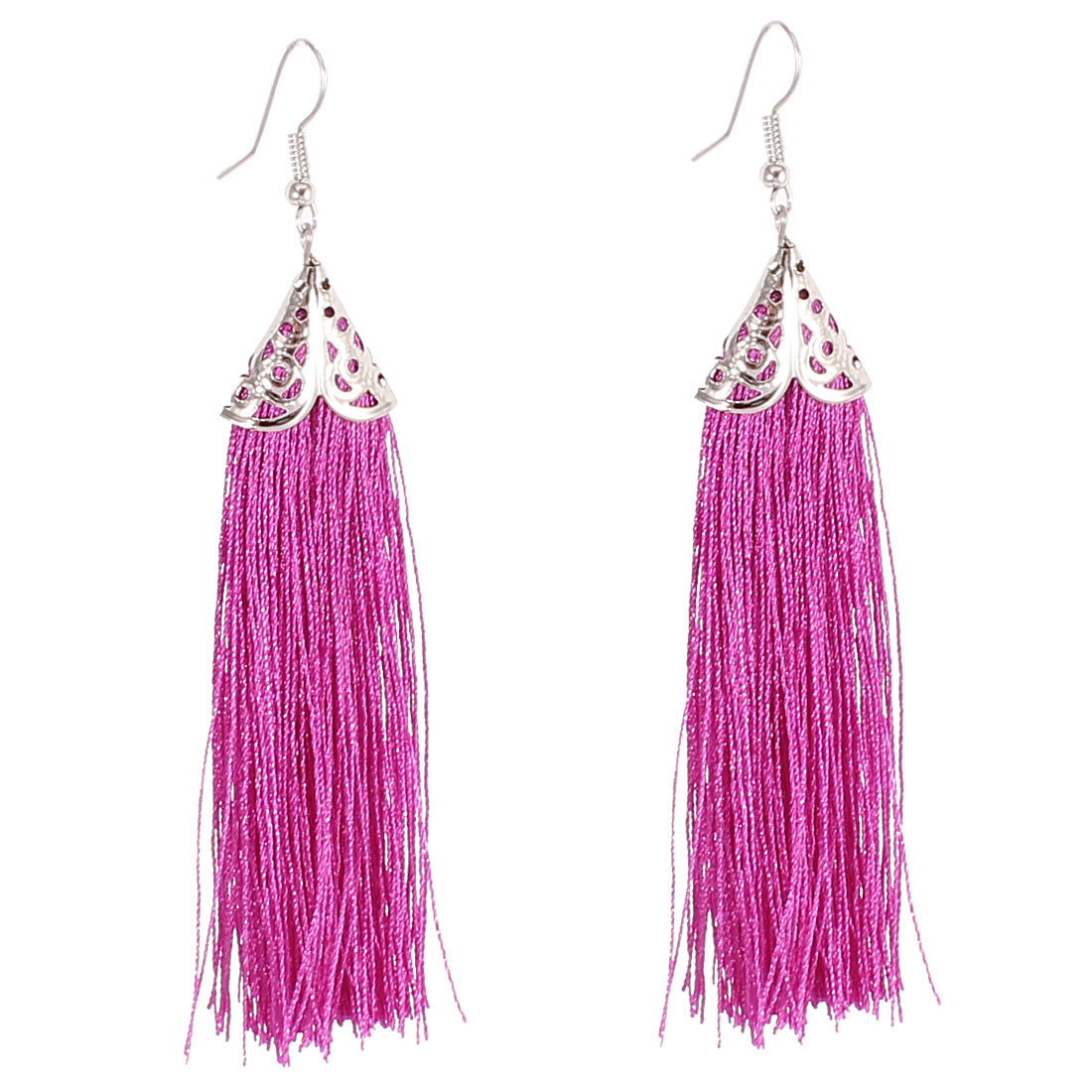 Pair Purple Polyester Tassel Fringed Fish Hook Dangling Eardrop Ear Ornament Earrings for Lady