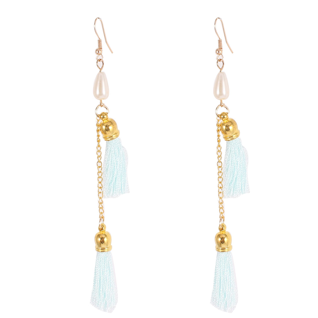 Pair Light Blue Imitation Pearl Tassel Dangling Fish Hook Style Ear Drop Decoration Earrings for Lady