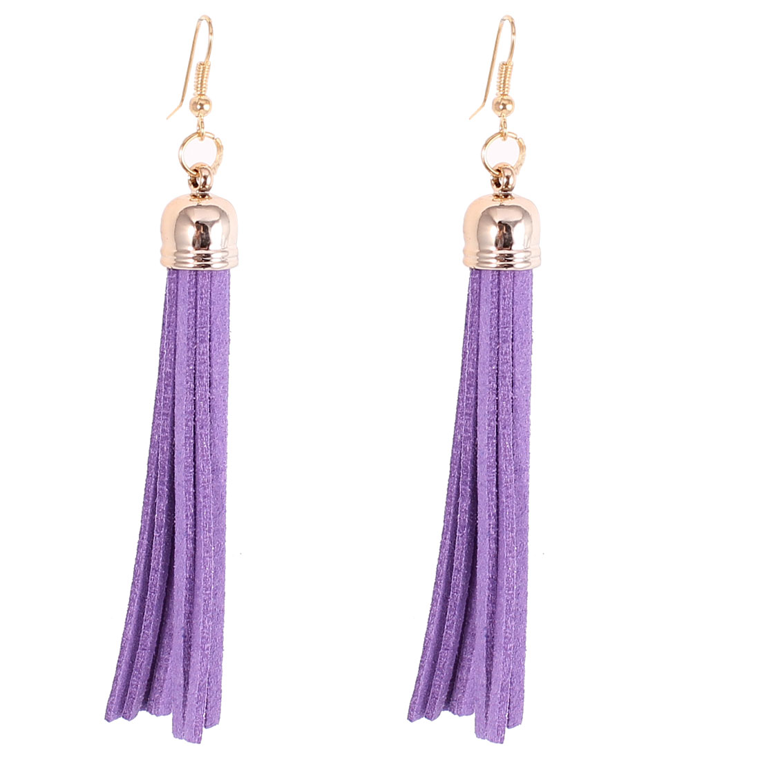 Pair Purple Felt Tassel Dangle Fish Hook Eardrop Ear Ornament Earrings for Women