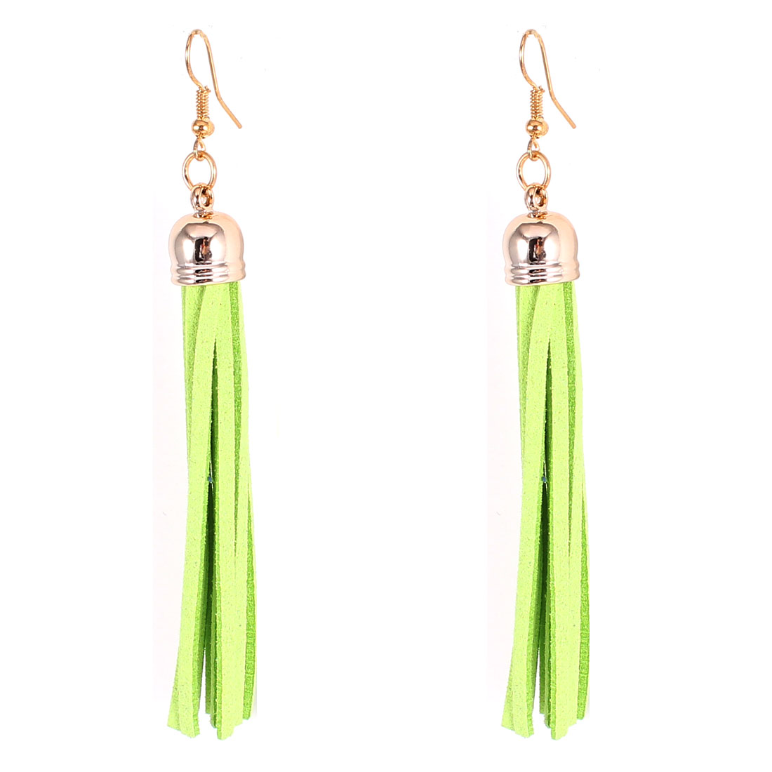 Pair Light Green Felt Tassel Dangle Fish Hook Eardrop Ear Decoration Earrings for Lady