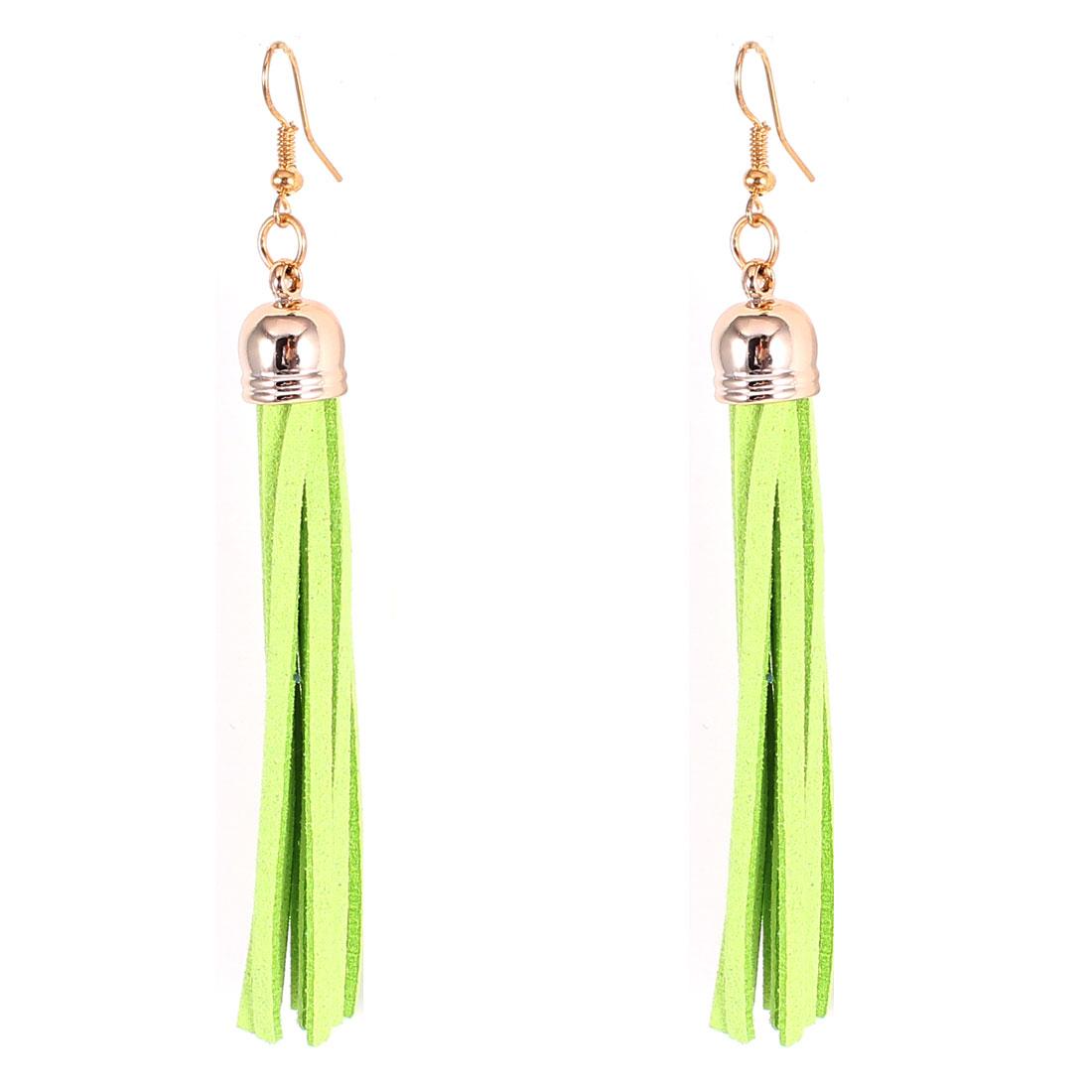 Pair Light Green Felt Tassel Dangle Fish Hook Eardrop Ear Decoration Earrings for Lady