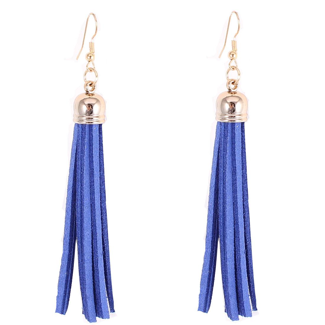 Woman Decoration Felt Tassel Pendant Fish Hook Dangling Eardrop Earrings Blue Pair