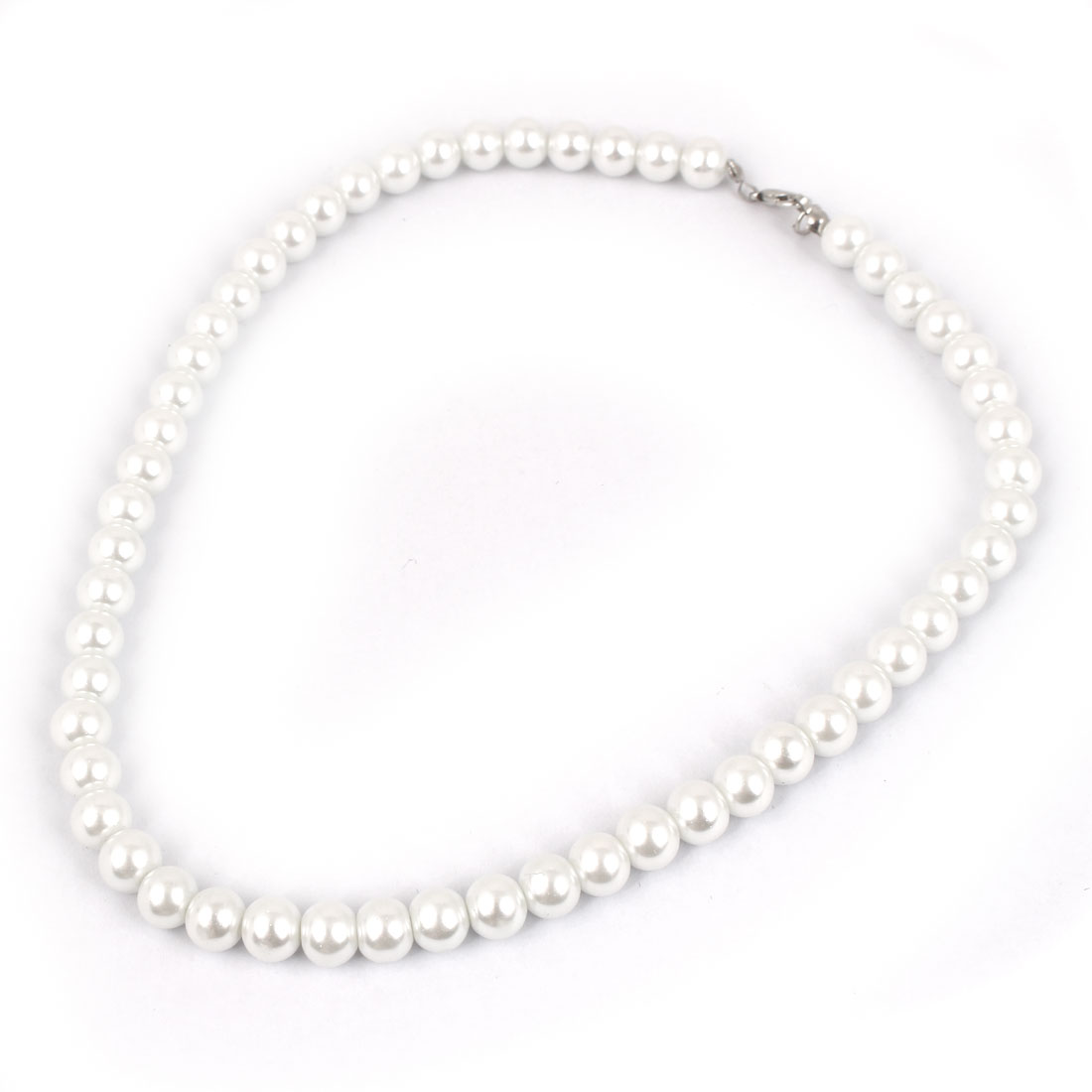 Lady Plastic Round Imitation Pearls Party Sweater Necklace Bracelet