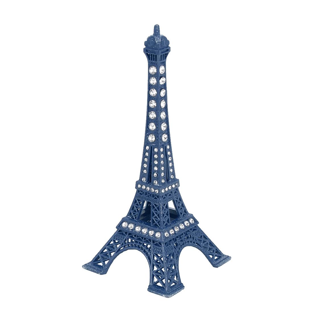 Rhinestone Detail Mini France Paris Eiffel Tower Sculpture Statue Model Ornament 13cm Height Blue