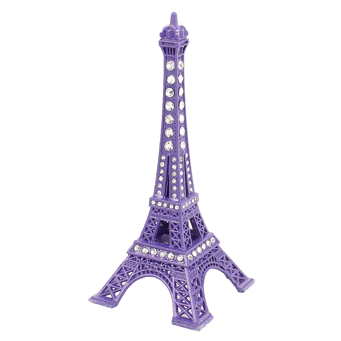"Metal Mini France Paris Eiffel Tower Sculpture Statue Model Ornament 5"" 13cm Height Purple"