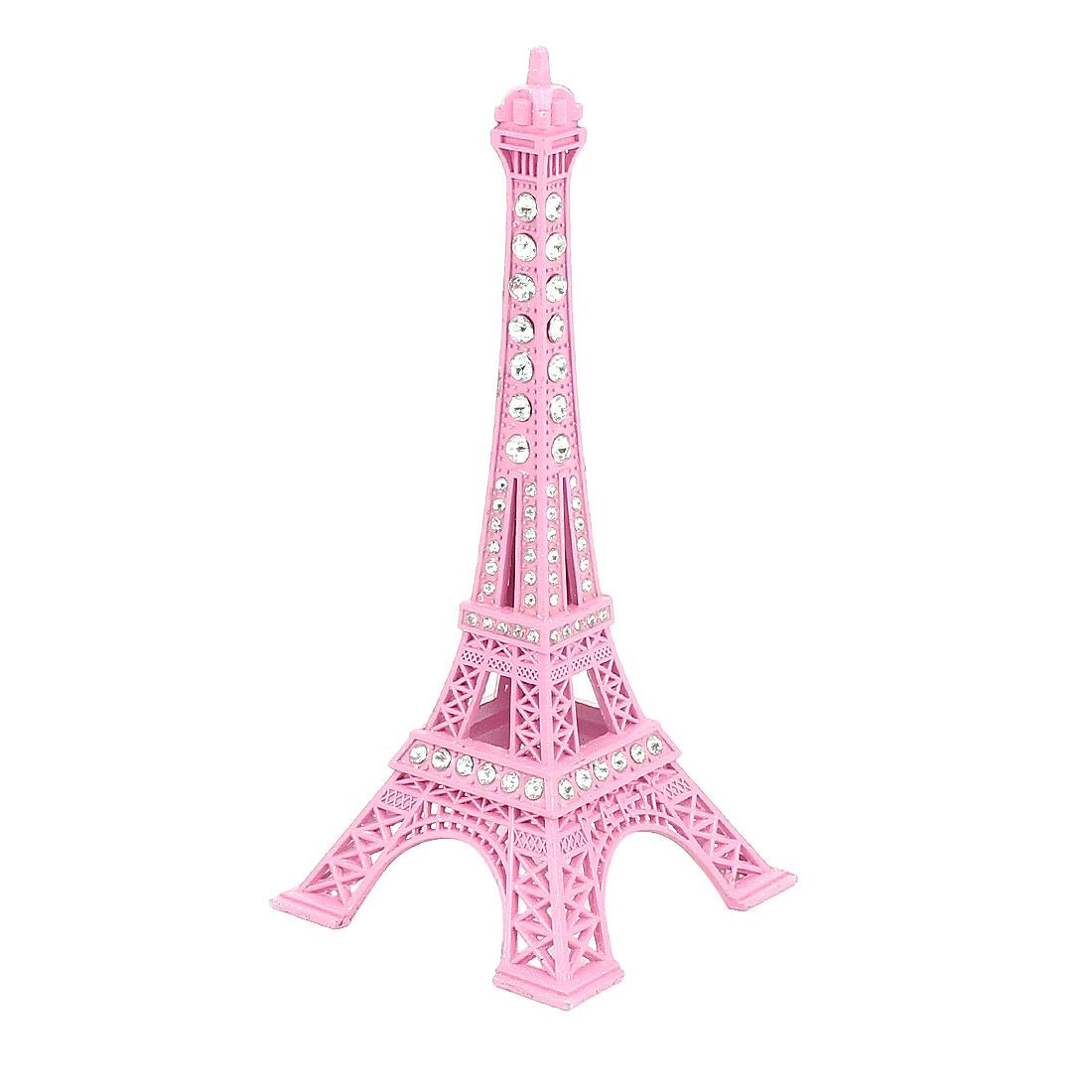 "Rhinestone Decor Mini France Paris Eiffel Tower Statue Vintage Model Ornament 5"" 13cm Height Pink"
