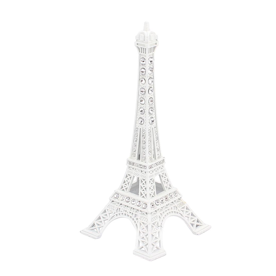 "Rhinestone Detail Mini France Paris Eiffel Tower Sculpture Statue Model Ornament 5"" Height White"