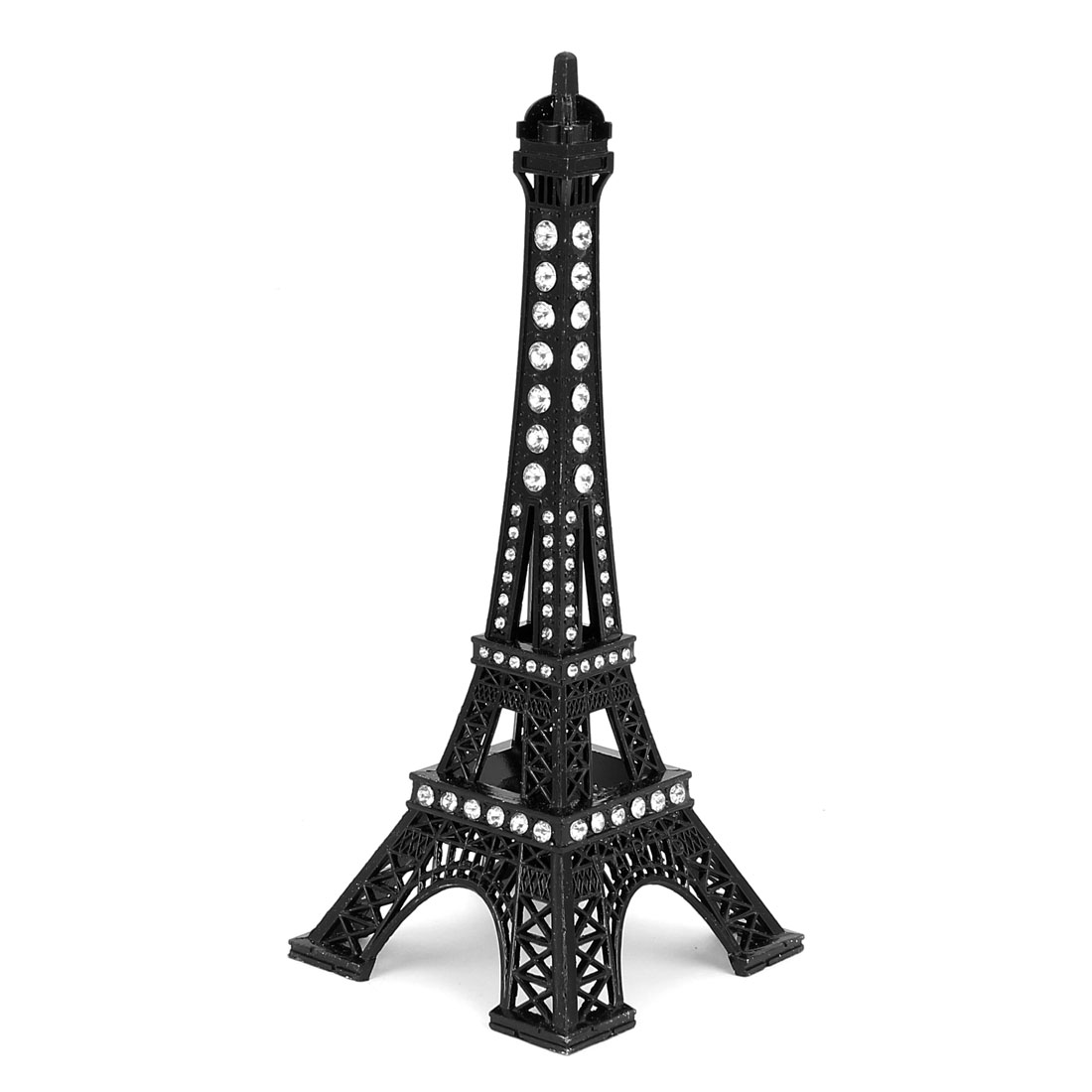 "Rhinestone Detail Mini France Paris Eiffel Tower Sculpture Statue Model Ornament 7"" 18cm Black"