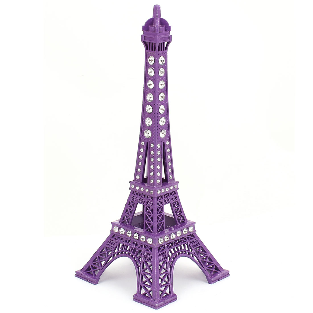 Rhinestone Detail Mini France Paris Eiffel Tower Sculpture Statue 3D Model Ornament 18cm Height Purple