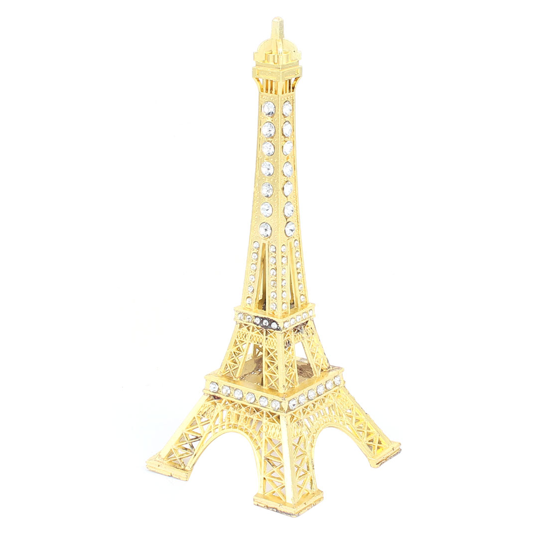 "Rhinestone Detailing Mini France Paris Eiffel Tower Sculpture Model Ornament 7"" 18cm Height Yellow"