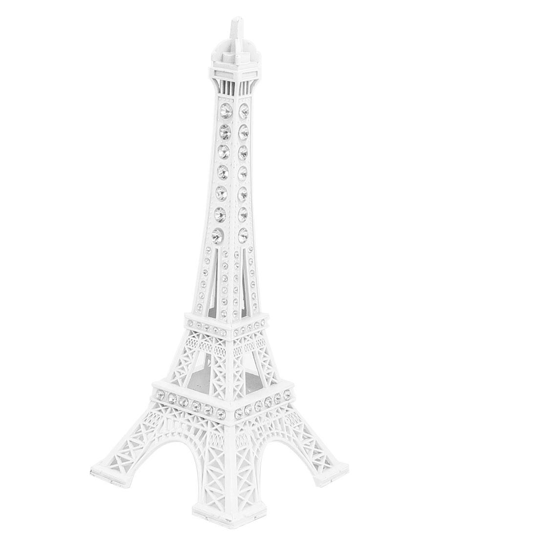 "Rhinestone Decor Mini France Paris Eiffel Tower Sculpture Statue Model Desk Ornament 7"" 18cm White"