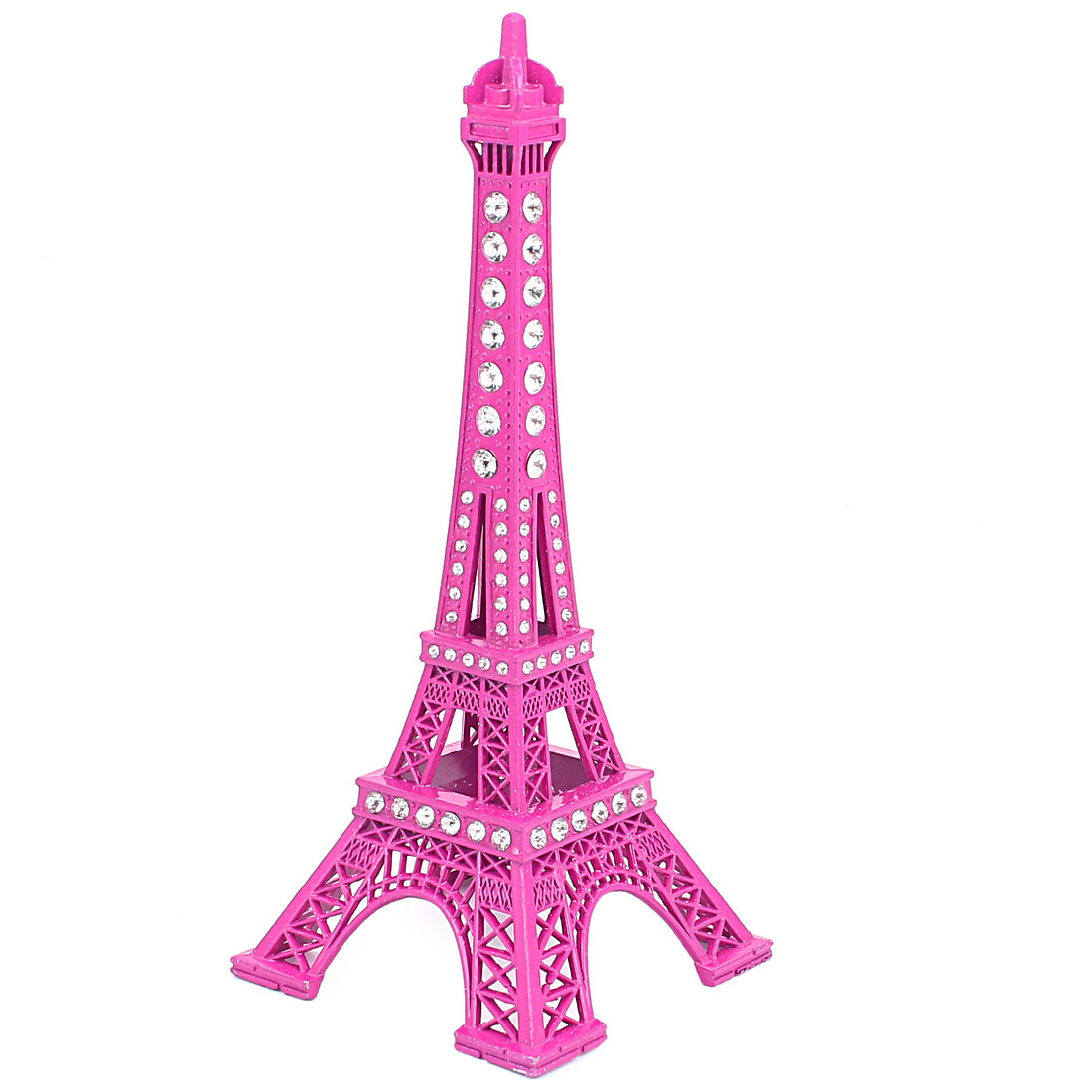 "Rhinestone Detail Mini France Paris Eiffel Tower Construction Model Ornament 7"" 18cm Height Magenta"