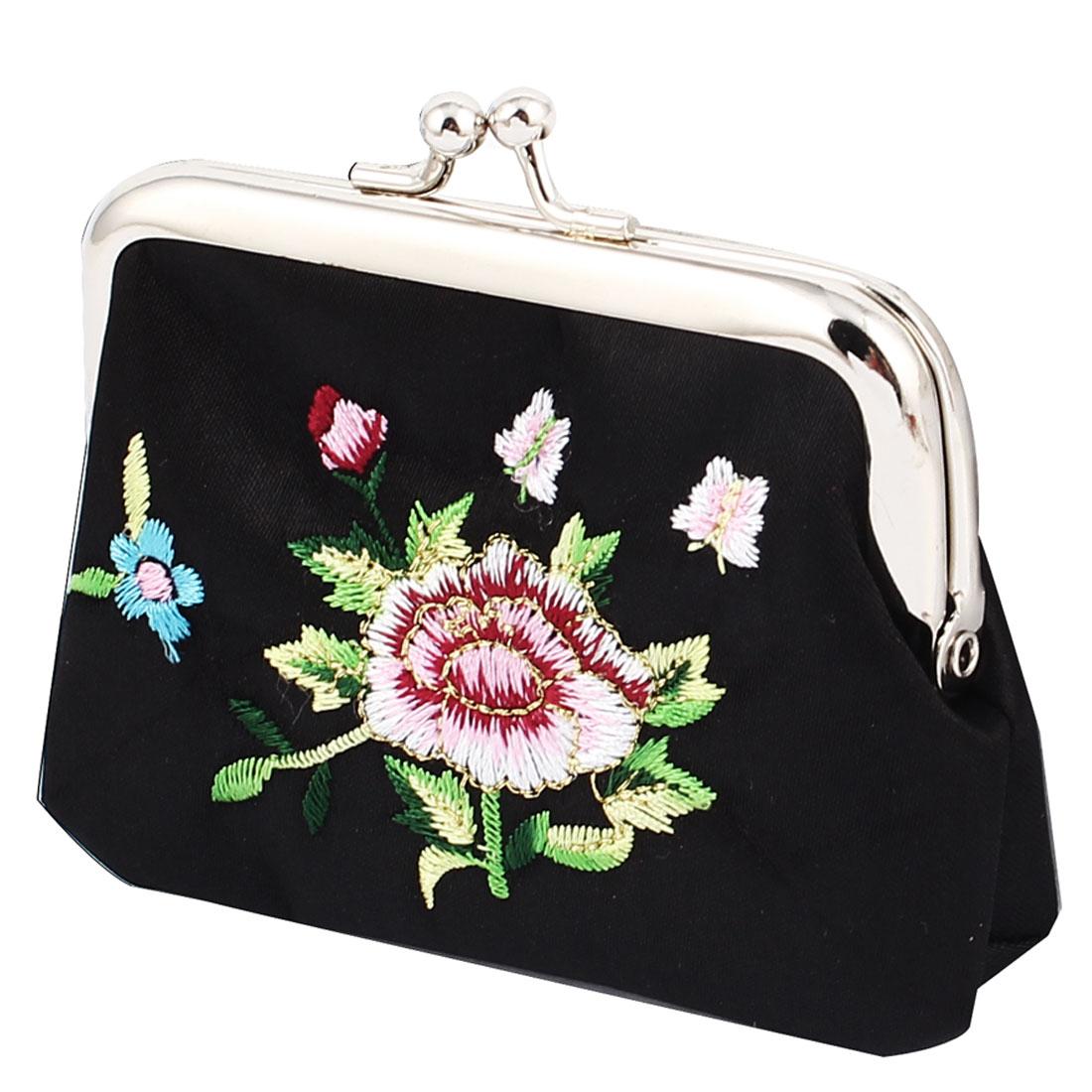 Women Floral Embroidery Kisslock Closure Bag Coin Change Purse Money Keys Holder Wallet Black