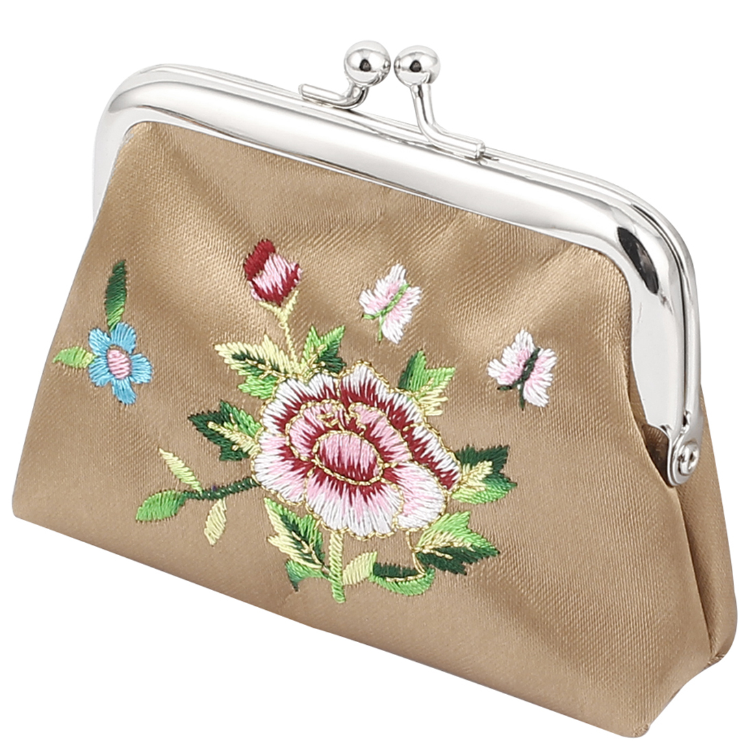 Lady Flower Embroidery Kiss Lock Closure Bag Coin Change Purse Money Holder Wallet Gray